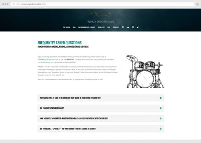 Vancouver Music Recording Studio WordPress Web Design
